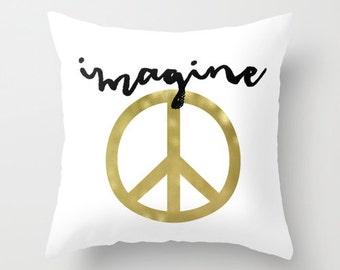Velveteen Pillow - Black and White Pillow - Imagine Pillow - Peace Sign Pillow - Gold Pillow - Modern Decorative Pillow - Gifts for Her