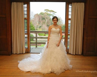 Organza Waterfall layered wedding dress