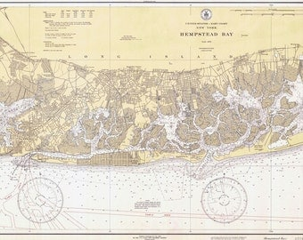 1934 Nautical Map of Hempstead Bay
