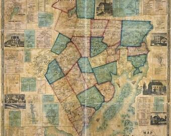 1859 Map of Waldo County Maine Farm Names