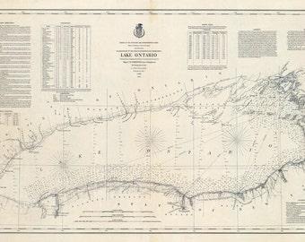 1877 Nautical Map of Lake Ontario