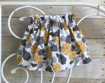 Floral Gray and Yellow Skirt Handmade High Waisted