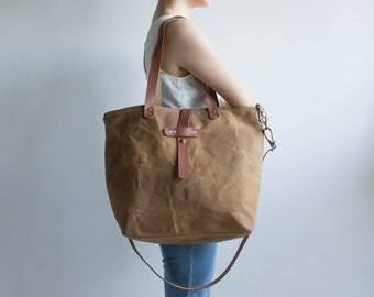 Waxed canvas bag, Waxed canvas tote, Waxed canvas handbag, Large tote bag, Waxed Canvas Diaper bag, Shoulder bag, Canvas tote bag, Tan