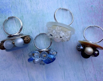 Vintage Earring and Button Rings Set of Four