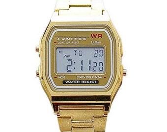 Gold, silver digital Retro watch