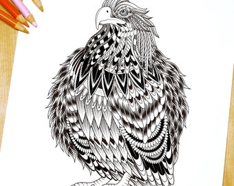 Majestic look Eagle  - Adult Coloring Page Print