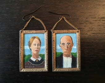 American Gothic hand painted earrings