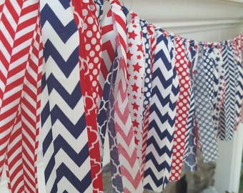 memorial day rag garland * fourth of july rag garland * fourth of july decorations * red white and blue banner * fourth of July banner