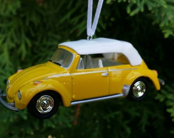 Custom made 1975 VW Super Beetle Convertible Christmas Ornament 1:64