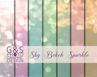 Sky Bokeh Sparkle, Overlay, Digital Paper, Background, Printable Instant Download,  Scrapbook, Pretty, Soft Colours