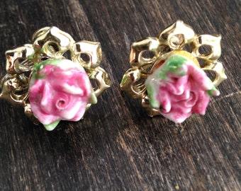 screw back vintage earrings, floral earrings, vintage earrings, bridal earrings, vintage wedding, unique earrings, small earrings