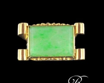 Ring Tank Jade in gold 18 k Vintage jewel retired