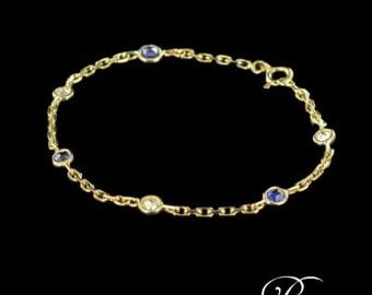 Gold 18K modern yellow Sapphire diamond chain bracelet