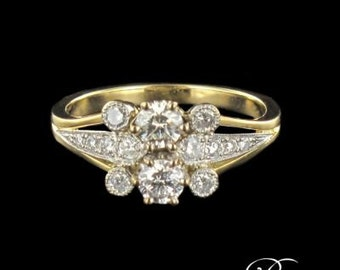 Yellow Gold Diamond Ring Platinum