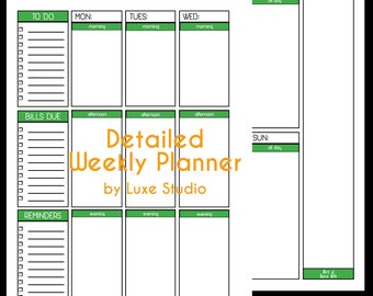Printable Detailed Weekly Planner--Letter size