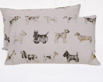 Cushion, Dog Print Cushion, Linen Cushion, Dog Cushion