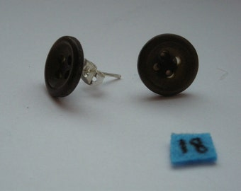 brown 4 holes button homemade earrings silver plated post and back 13mm
