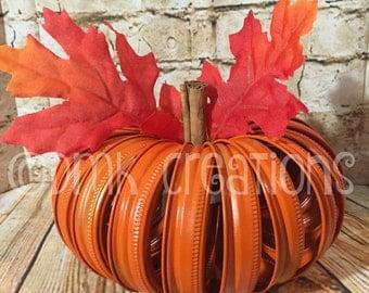 Mason Jar Lid Pumpkin, fall, autumn, pumpkin, mason jar lids, fall decor, fall centerpiece, mason jar lid pumpkin, Halloween decoration