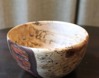 Hand Turned Decorative Bowl - Spalted Maple - Exposed Bark