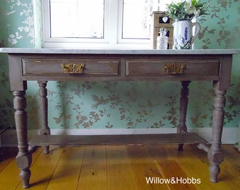 SOLD - Example -  Marble topped upcycled console table, hall table, washstand, painted furniture, shabby chic, renovated, repurposed