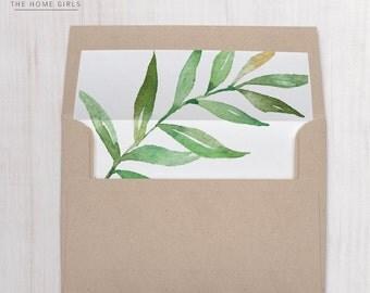 Printable Envelope Liner / Green Leaf Envelope Liner / Any Size Liner/ Instant Download / DIY Envelope Liner / Envelope Liner / Amelia
