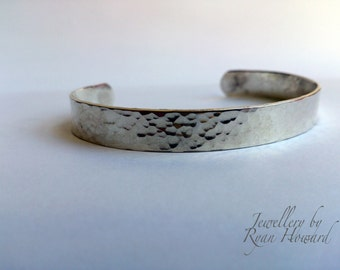 Hammer Textured Sterling Silver Bangle