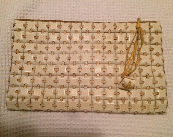 Ivory Plasticflex Clutch with Coin Purse