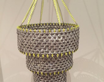 Handmade 4 tier Silver and Yellow Chandelier
