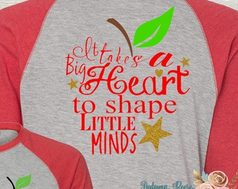 Monogrammed Teacher's Raglan T-Shirt It Takes a Big Heart with Apple Stem Monogram on Front