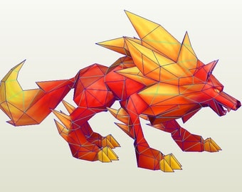 Inugami awakened (Summoners war) wolf papercraft template