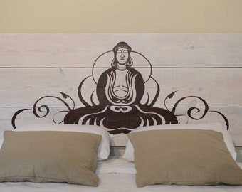 Headboard Bed wood craft Zen Buddha