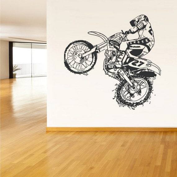 Rvz1557 wall vinyl sticker decal dirt dirty motocross for Dirt bike wall mural