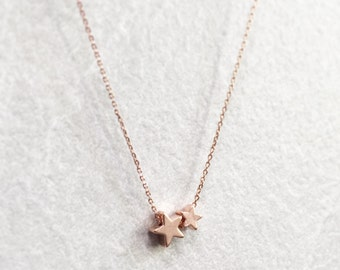 Double Star Necklace ~ Silver/Gold/RoseGold