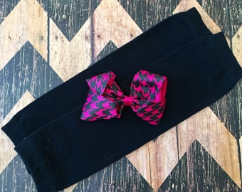 Hair Bow Monogrammed pink and black houndstooth