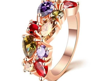 Colorful Cubic Zircon Ring.