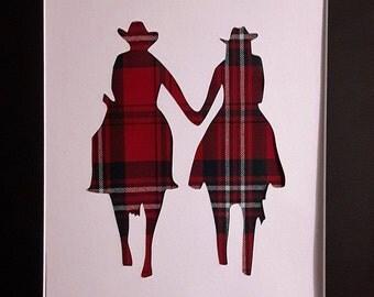Couple On Horseback Tartan Art Picture