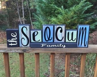 Last name wood decor blocks