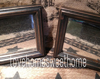 Primitive Black Distressed Wood Framed Mirrors, Set of 2  Country Farm Decor
