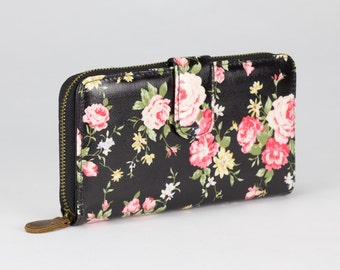 Oilcloth Clutch wallet- Black Rose - Oil cloth ladies purse - Zip around wallet - Bifold wallet- Coin purse- Laminated cotton - Iphone Plus