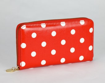 Oilcloth Zip around Wallet - Red polka dot purse - Oil cloth ladies purse- Ladies Zip wallet - Coin purse- Laminated cotton- Iphone Plus
