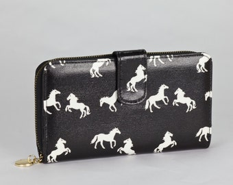 Oilcloth Clutch wallet- Horse print - Oil cloth ladies purse - Zip around wallet - Bifold wallet- Coin purse- Laminated cotton - Iphone Plus