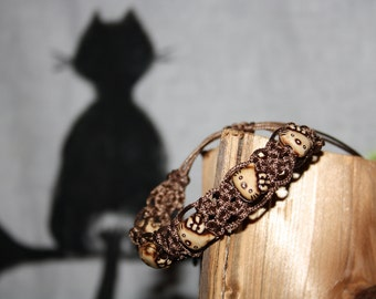Macrame bracelet, cats, black, Brown,