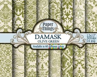 Green Olive Damask Digital Paper Pack green Floral Paper with Printable Damask Patterns, Olive Green Scrapbook Papers Instant Download