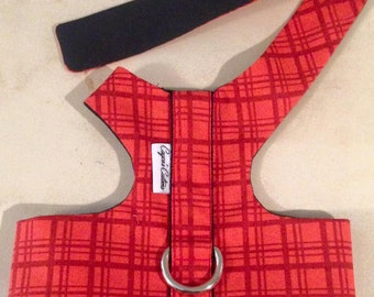 Small dog harness; red plaid
