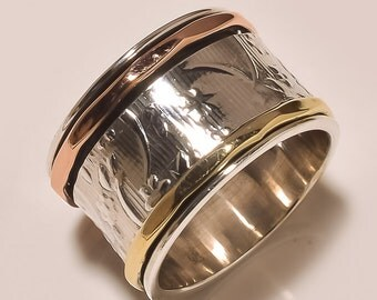 Three Tone Spinning ring, Meditation ring, statement ring, Spinner Ring US-6,7,8,9,10,11,12 Jewelry, free shipping