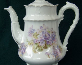 Vintage Fine White Bone China Chocolate Pot with Violet Floral Pattern