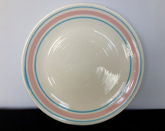 Large McCoy Pink and Blue Striped Dinner Plate