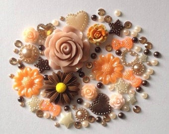 Autumn Fall mix cabochon flatbacks scrapbook embellishment flowers pearls gems