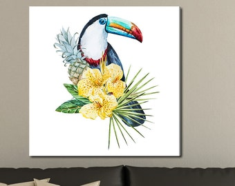 Flowers and Toucan, Tropical Watercolor Gallery-Wrapped Canvas