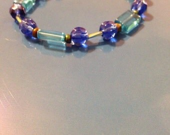Blue and teal beaded bracelet
